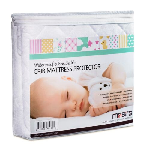 Crib Mattress Protector - Waterproof Bamboo Material for Baby Sleep Protection.