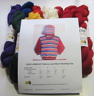 CHILDS BRIGHT PULLOVER and STOCKING CAP Knitting Yarn KIT for sizes 2 thru 8 yrs