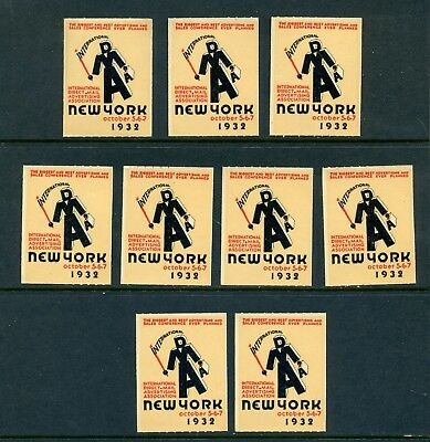 9 VINTAGE 1932 INTERNATIONAL DMAA POSTER STAMPS DIRECT MAIL ADVERTISING ASSN NYC