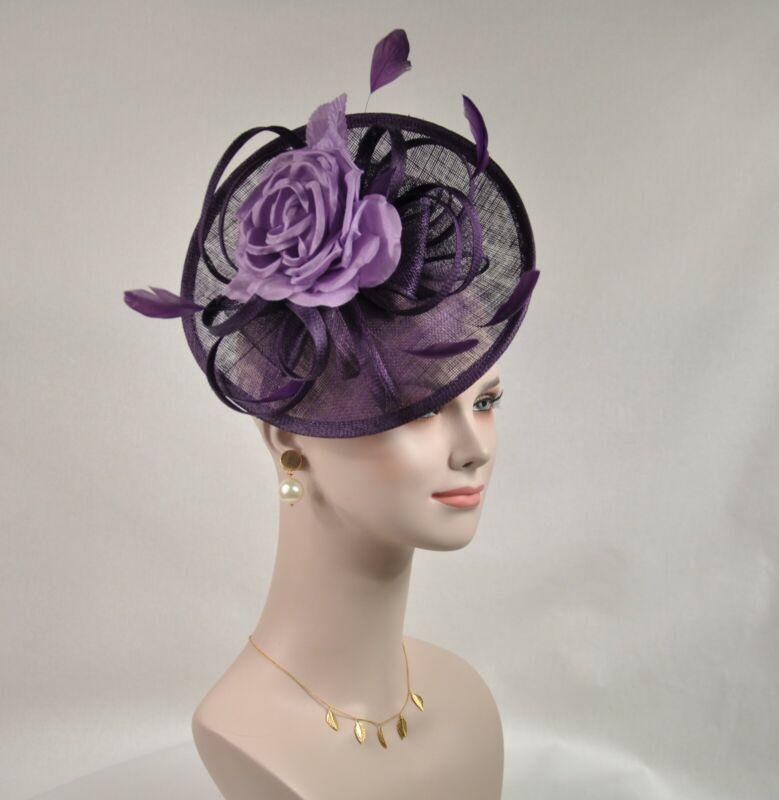 Red Silk Flower with Sinamay Fascinator Hat Kentucky Derby Wedding Tea