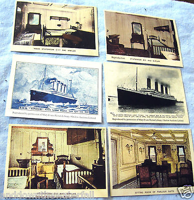 6 TITANIC Mini Post Cards Photographs Images Black and White Drawings Sketches