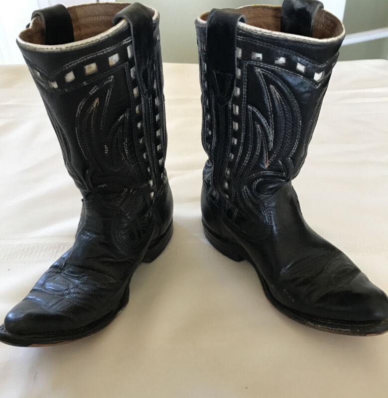 Vintage 1940's ? Western Cowboy Children's Boots 10D Texas Blk White Stitching