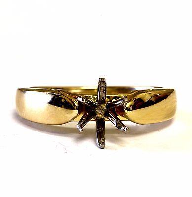 14k yellow gold womens semi mount engagement ring setting 4.7g ladies estate