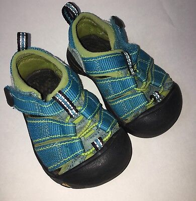 KEEN Newport Baby Toddler Sz 4 Walking Hiking Water Shoes Blue Neon Green