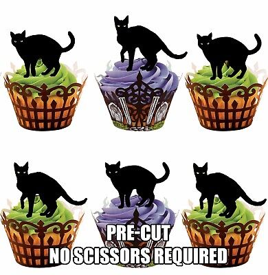 Pre Halloween (PRE-CUT Halloween Spooky Black Cats Edible Cupcake Toppers / Cake Decorations)