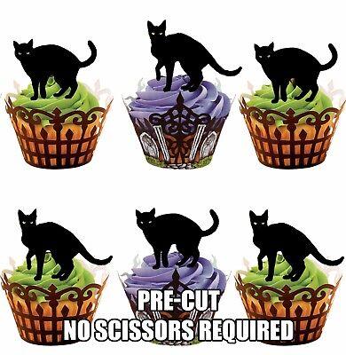Vorgeschnitten Halloween Spooky Schwarze Katzen Essbare Cupcake Topper / ()