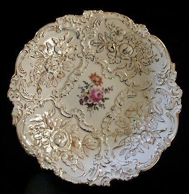 "MEISSEN FIRST QUALITY GILT 12"" BOWL ORNATE ROCOCO STYLE ROSE BOUQUET MEISSEN"
