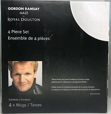 Gordon Ramsay Maze By Royal Doulton Set of 4 Coffee Cups White Mugs With Handles Gordon Ramsay Maze
