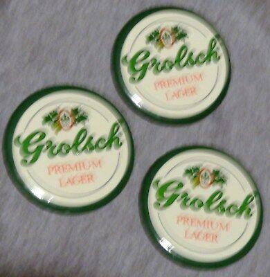 (3) Vintage Grolsch Premium Lager Pins - Buttons