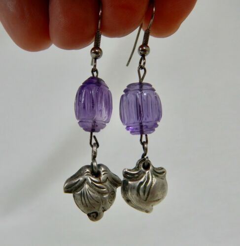 Vintage Chinese Carved Amethyst and Peach Earrings - 82161