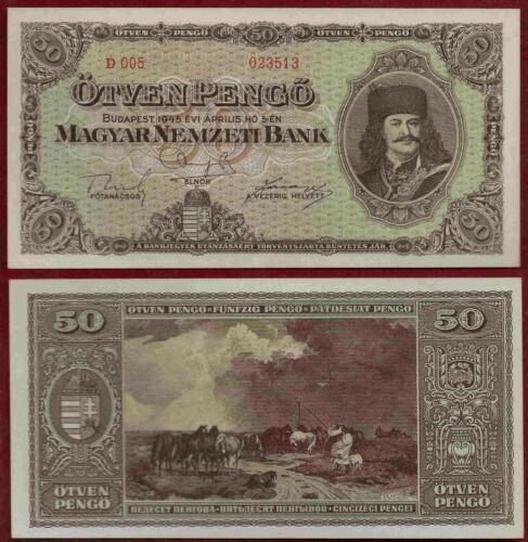 Hungary 50 Pengo 1945 Pick 110 Unc