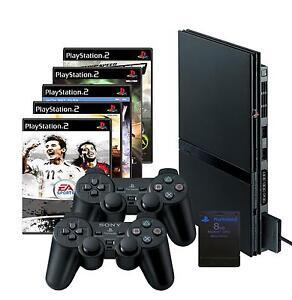 SONY Playstation  2 Slim schwarz (PS2)+ 10 Spiele + 2 Controller + Memory Card
