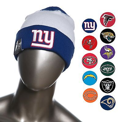 New Era NFL Team Cuffed Beanies / Knit Caps Fall with Raised Puff logo