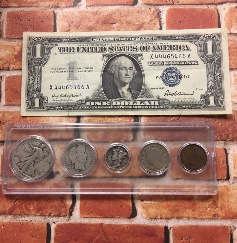 Old U.S. Coins Silver Set AND a 1957 $1 Silver Certificate Collection
