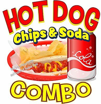 Hot Dog Soda Chips Combo Decal 7 Restaurant Concession Food Truck Sticker