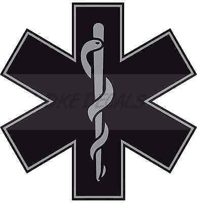 "Black 4"" Die Cut Star of Life Reflective Emergency Medical EMT Paramedic Decal"