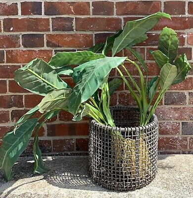 Heavy Rustic Industrial Vintage Metal Basket / Fab Alternative Vintage Planter