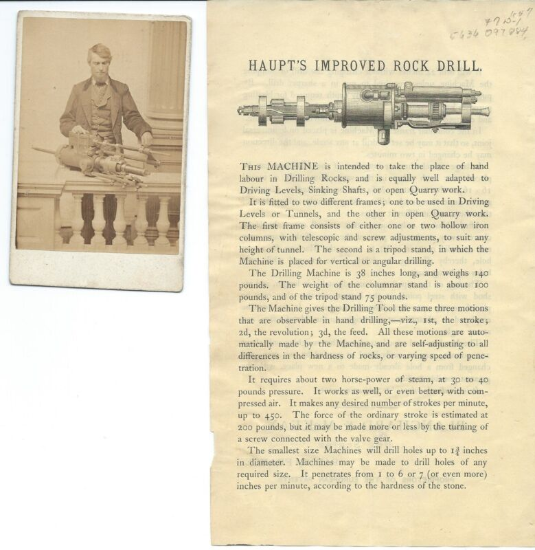 Carte De Visite Civil War General Hermann Haupt and Invented Drill Brochure.