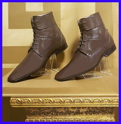 NEW VERSACE COLLECTION BROWN LEATHER BOOTS  42 - 9