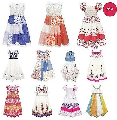 Domino Mädchen Kinder Blumenmuster Butterfly Kleid Patchwork Taschentuch - Butterfly Kleider Für Kinder