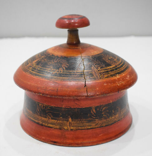 Spice Box Middle Eastern Rosewood Painted Lacquered Spice Box