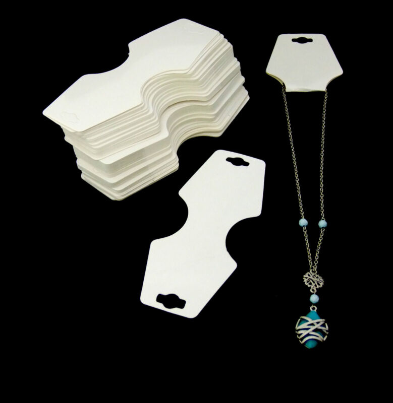 100 Pack Of White Necklace/Bracelet Fold Over Cards With Adhesive Strip