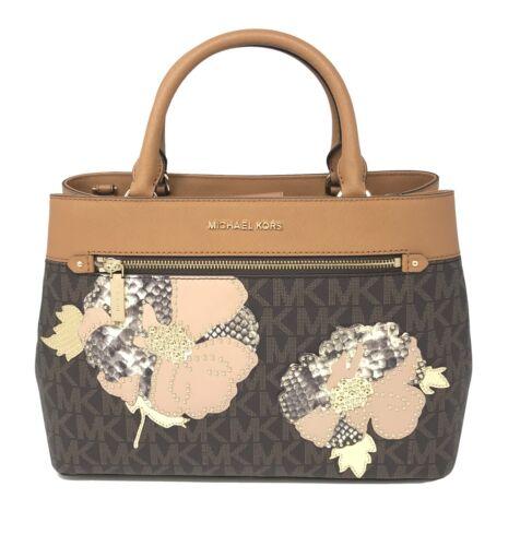 Michael Kors Hailee Medium Satchel Floral Parches In Brown/Acorn Bag