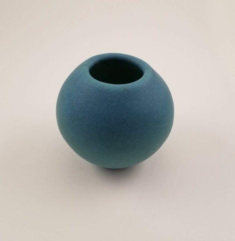 "Van Briggle small Ming Blue Sphere vase: 2""tall x 2 1/2""wide FLAWLESS"