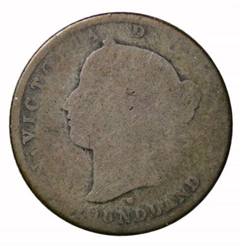 1876-H Newfoundland Canada Silver Dime 10 Cents KM#3 Queen Victoria Coin