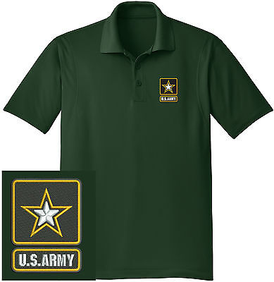 NEW US Army Embroidered Moisture Wicking DRYFIT Dk Green Polo Shirt - Ships Free