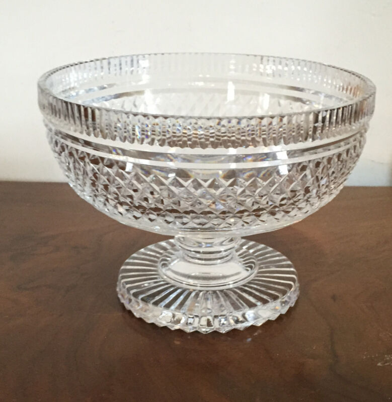 Antique Anglo Irish Crystal Cut Glass Georgian Footed Compote Fruit Bowl Urn