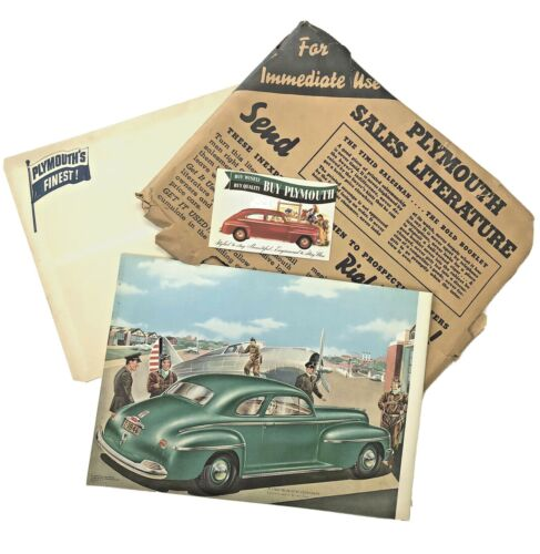 1942 Plymouth Sales Brochure  Set w/ Original Packaging, Postcard & Envelope!