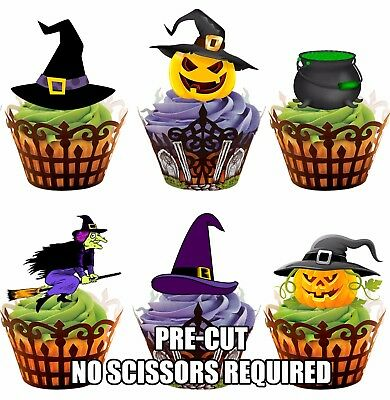 PRE-CUT Witch & Pumpkins Mix Edible Cup Cake Toppers Halloween Party Decorations (Halloween Pumpkins Edible)