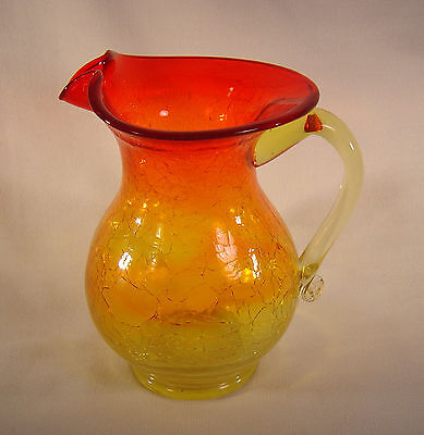 """Large Amberina Crackle Glass ~ 6"""" Pitcher / Vase ~ Hand Blown - Flared Top"""
