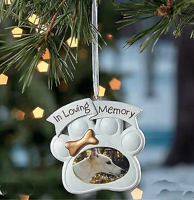 Pawprint Memorial Dog Photo Ornament - remember a beloved pet