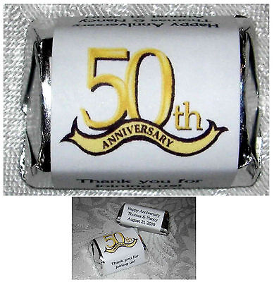 60 - 50th ANNIVERSARY PARTY FAVORS CANDY WRAPPER LABELS 50th Anniversary Candy Wrappers