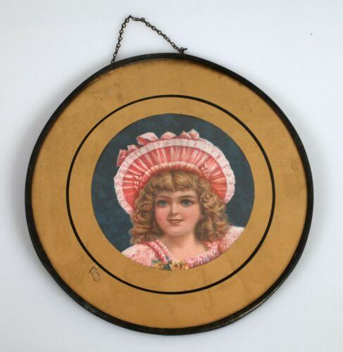 Antique Flu Glass Cover Image Victorian Young Girl