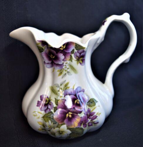 VINTAGE English Crownford China Pansies Flowers Pitcher