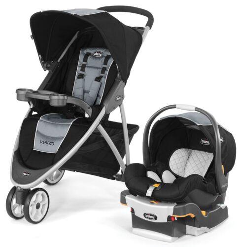 Chicco Viaro 3 Wheel Travel System Stroller w/ KeyFit 30 Car Seat Techna NEW
