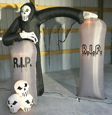 8ft Gemmy Airblown Inflatable Prototype Halloween Reaper Archway #50246