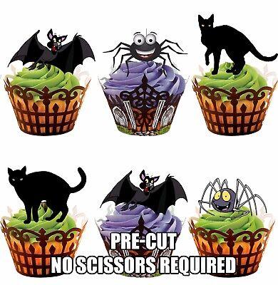 n,Fledermäuse und Spinnen essbar Halloween Cupcake Deckel (Katze Halloween Cupcakes)