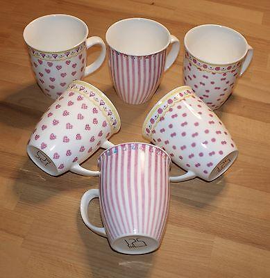 Kaffeebecher Punschbecher Mug Porzellan rosa/weiß  6 Stück