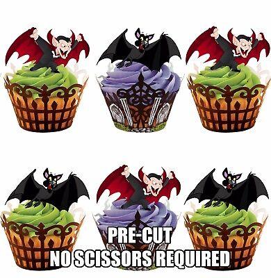 ween Vampir Fledermaus - Essbare Cupcake Topper Party (Fledermaus Halloween Cupcakes)