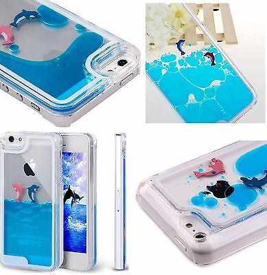 iPhone 5C 5S SE 6S 6+ 7 Plus - HARD CASE Flowing Liquid Waterfall Blue (Dolphin Waterfall)