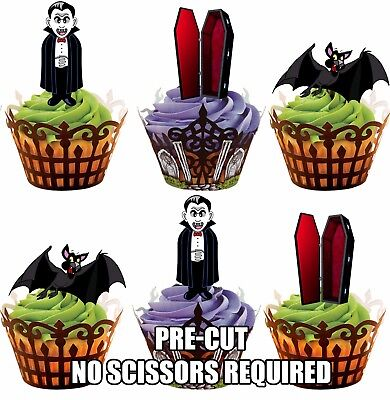 PRE-CUT Halloween Vampire Mix -  Edible Cupcake Toppers Party Cake Decorations
