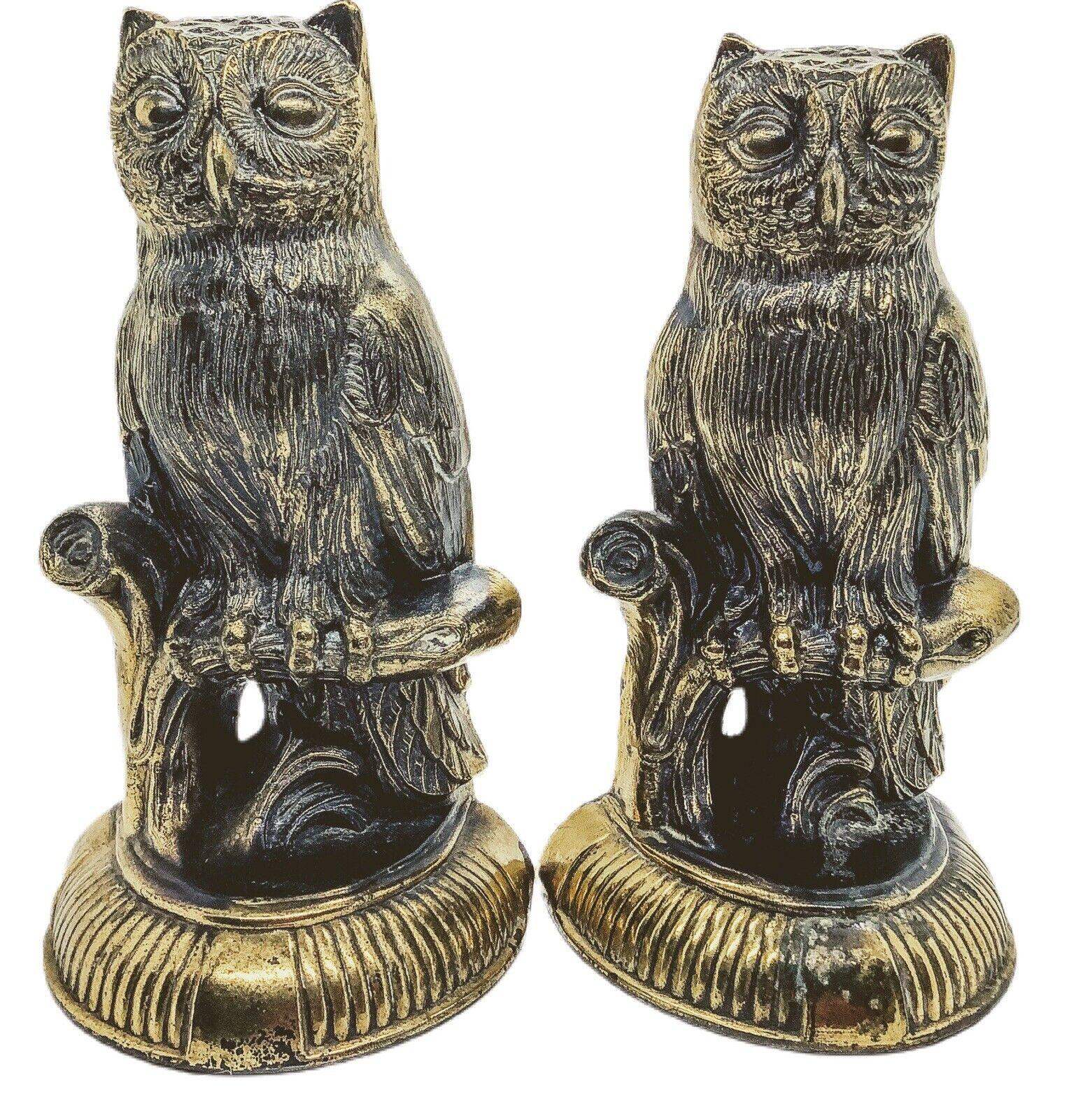 Vintage Stoic Owl Bookends Door Stop Figurine Brass Bronze Cast Metal Mark 1974