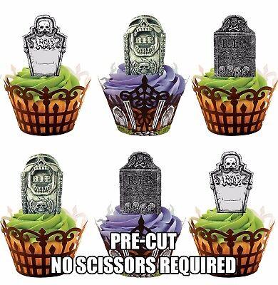 Vorgeschnitten Grabstein - Essbare Cupcake Topper Dekorationen Halloween (Halloween Cupcakes Grabsteine)