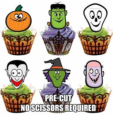 PRE-CUT Halloween Scary Faces Edible Cupcake Muffins Cookie Toppers Decorations - Halloween Cupcake Faces