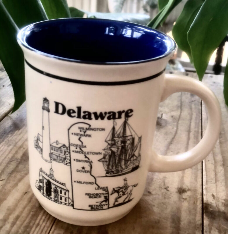 Delaware Mug THE FIRST STATE Vintage Coffee Cup Landmarks + History Never Used