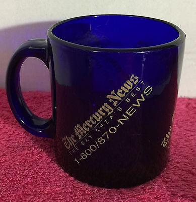 Bay Area California San Jose Mercury News Coffee Cup Mug   Cobalt Blue Glass